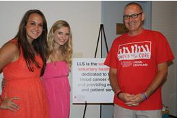 """Melissa Deters and partner Cassie Hoesl pose with Mr. Hopkins at their LLS event. Hopkins is a close family friend of Melissa's that has had cancer for the third time. Melissa says, """"He is so strong and was a huge help to get us together with LLS."""""""