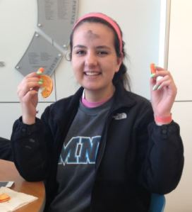 """Senior Emily Johangetes practices her Lenten sacrifice by eating healthier. Emily and many others in the school community have decided to make their sacrifice not only challenging, but healthy. """"I am eating healthy for Lent. Even though it will be hard, I know it will be good for me""""."""