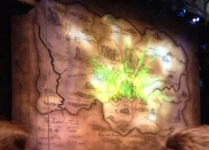 """The curtain before the show starts. The audience settles down for the show to begin. """"Some of my favorite songs are the very last ones """"For Good,"""" sung between Elphaba and Glinda, """"Popular,"""" and """"Defying Gravity,"""" said Jennings."""