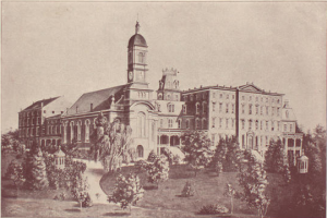 A sketch of Mount Notre Dame Academy in the late 1800s is found in an old yearbook.  It served as a boarding school for boys and girls starting in 1860 until 1935.  The site is now home to nearly 100 retired Sisters of Notre Dame de Namur and neighbors the current school building that was constructed in 1965.