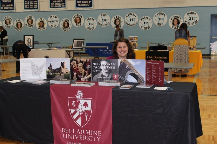 Bellarmine University Admissions Counselor, Laura Ruble, is excited to a part of Mount Notre Dame's annual College Fair. She is ready to recruit prospective students for Fall admission of 2016. She is is new to the job, only having worked in that position for four weeks, but has had experience in their office for over a year and a half.
