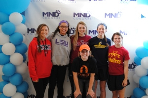 Senior Sydney Mukes is celebrated at the Fall Athletic Signing with other MND athletes. Mukes will be playing volleyball for LSU next year.