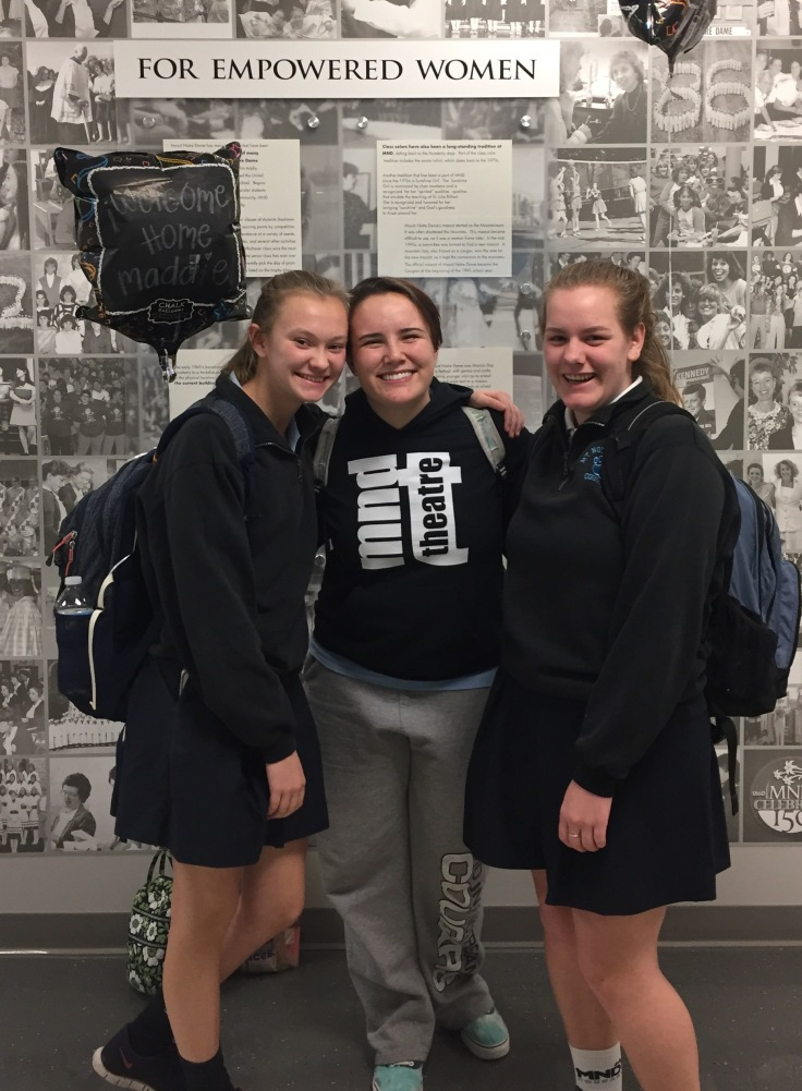 "Returning to MND after participating in the Spanish Exchange Program in Zaragoza, Spain, sophomores Maddie Campbell, Erin Mahan and Shannon Reel are quick to share memories from their experience.  The five MND and four Moeller students will host their Spanish sisters and brothers in September.  ""It was so hard to leave,"" said Mahan.  ""Five weeks is the perfect time to make real friends and our families were so amazing.  In math class I was talking about the family that I had to leave behind, and I just started crying,"" she said."